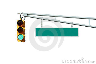 Isolated Green traffic signal light with sign