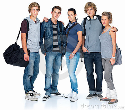 Isolated group of teenage students
