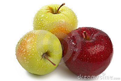 The isolated group of three fresh apples