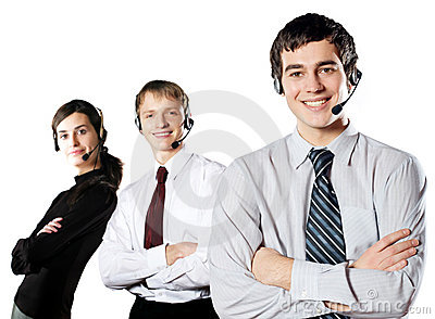 Isolated group of young happy smiling businesspeop