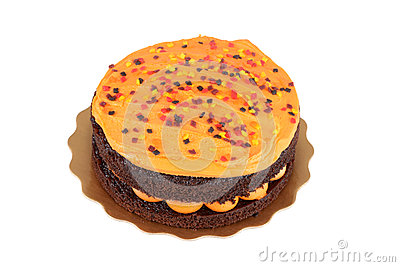 Isolated halloween orange chocolate cake