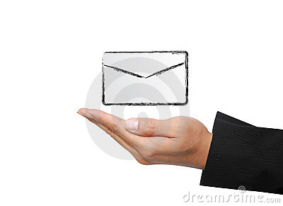 Isolated hand with letter