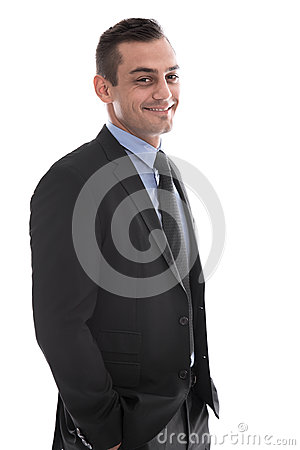Isolated happy handsome businessman in suit.
