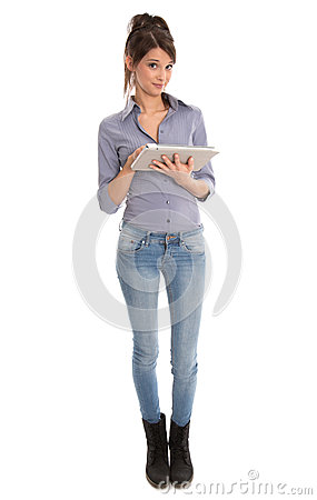 Isolated happy woman using tablet computer.