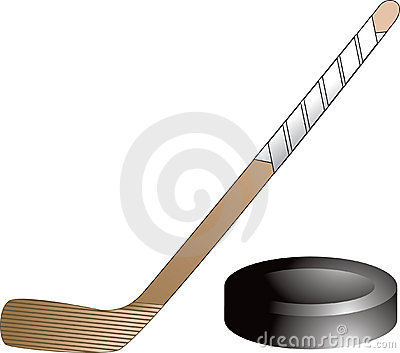 Isolated hockey puck and stick
