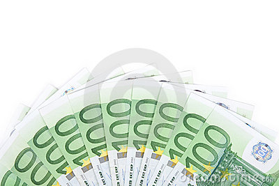 Isolated hundred euro banknotes 2
