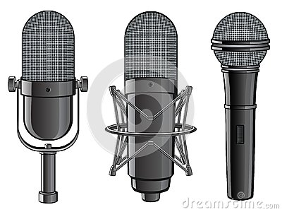 Isolated image of microphones