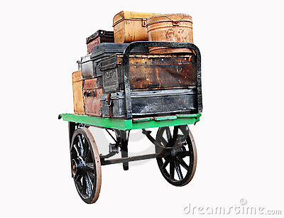 Isolated image of Vintage Luggage on a Trolley