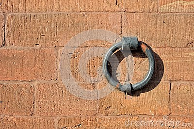 Isolated iron ring on the brick wall