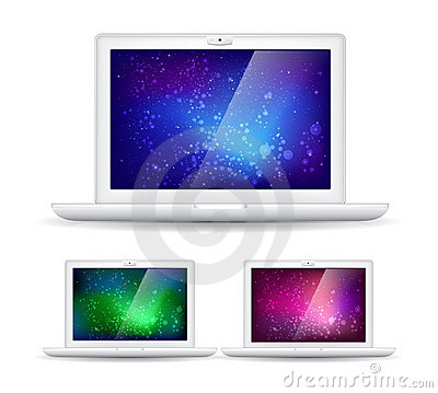 Isolated laptops and abstract colorful backgrounds