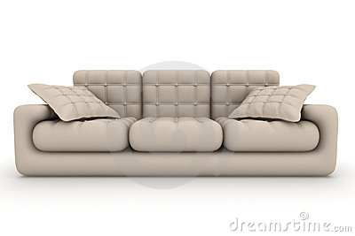 Isolated leather sofa. An interior.