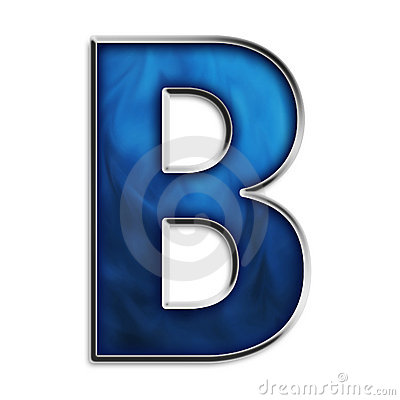Isolated letter B in tribal blue
