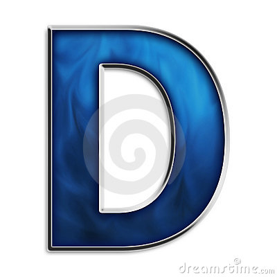 Isolated letter D in tribal blue