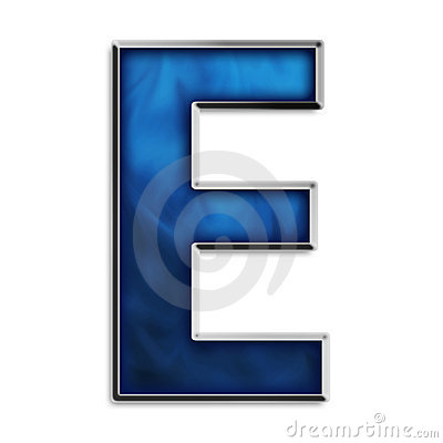 Isolated letter E in tribal blue