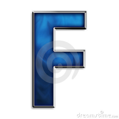 Isolated letter F in tribal blue