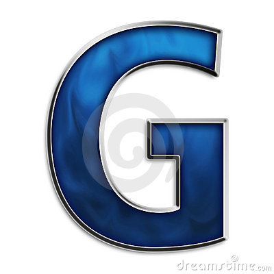 Isolated letter G in tribal blue