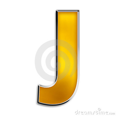 Isolated letter J in shiny gold