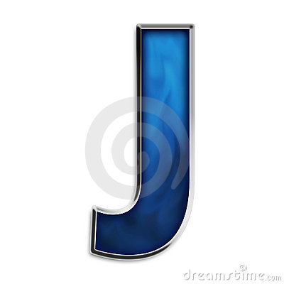 Isolated letter J in tribal blue