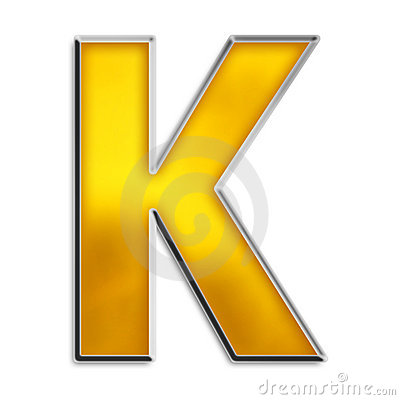 Isolated letter K in shiny gold