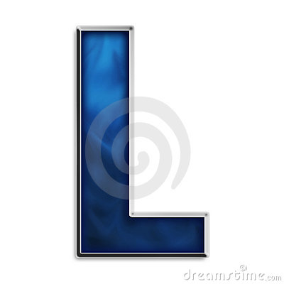 Isolated letter L in tribal blue