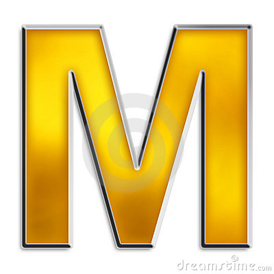 Isolated letter M in shiny gold