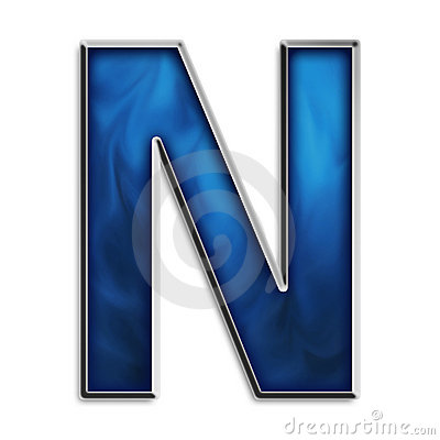 Isolated letter N in tribal blue