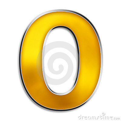 Isolated letter O in shiny gold