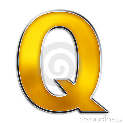 Isolated letter Q in shiny gold