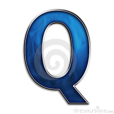 Isolated letter Q in tribal blue