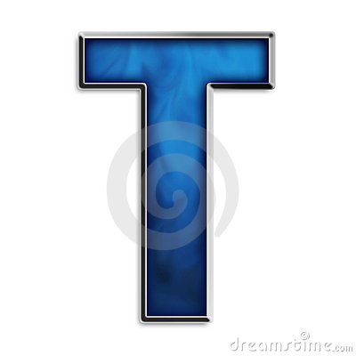 Isolated letter T in tribal blue