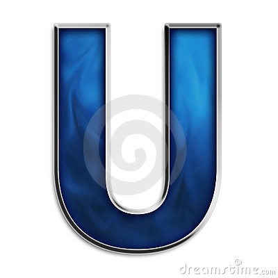 Isolated letter U in tribal blue