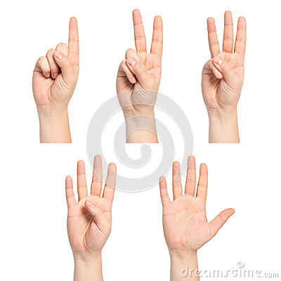Free Isolated Man Hands Show The Number One, Two, Three, Four, Five Stock Photo - 34597290