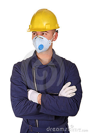 Isolated man with protection work clothes