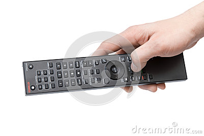 Isolated man s hand with a remote control on white