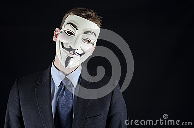 Isolated man wearing Vendetta mask Editorial Image