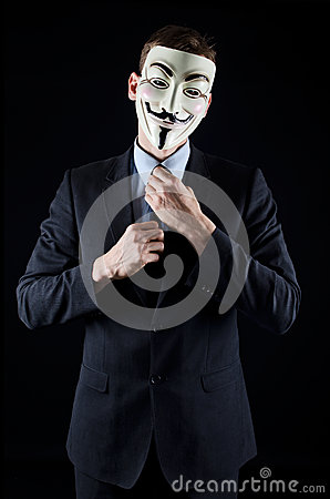Isolated man wearing Vendetta mask Editorial Stock Photo