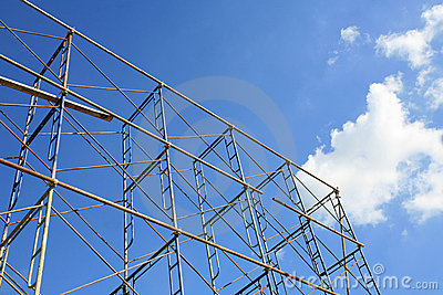 Isolated metal scaffold against blue sky