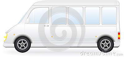 Isolated minibus silhouette on white background