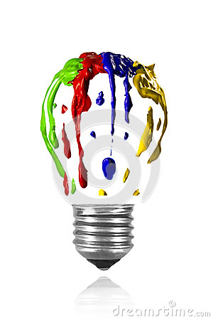 Isolated multicolor paint leaking in light bulb form.