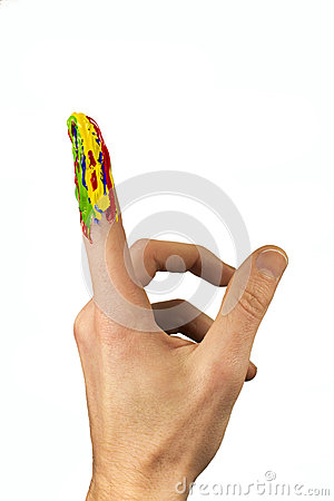 Multicolor painted forefinger pointing up