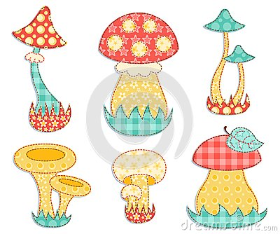 Isolated mushroom patchwork set.