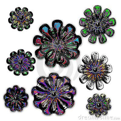 Isolated neon crystal snowflake blooms