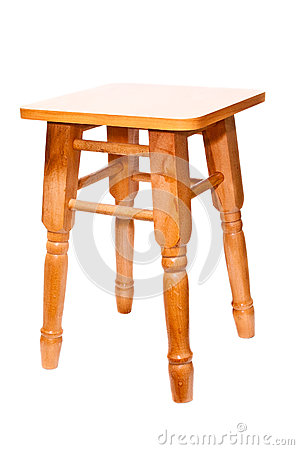 Isolated new wooden stool from pine  on white