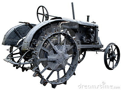 Isolated obsolete vintage tractor 3