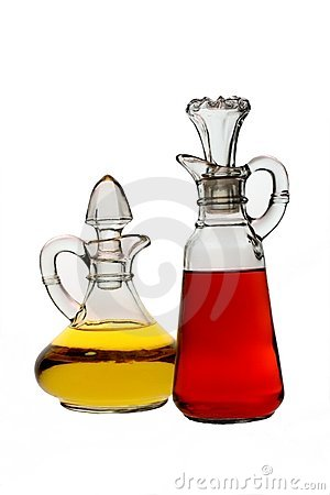 Isolated Oil and Vinegar Bottles