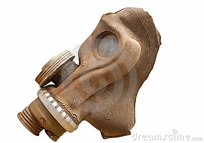 Isolated old gas mask