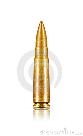 Isolated Old Rifle Bullet