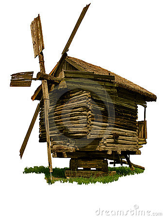 Isolated old wooden windmill