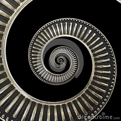 Free Isolated On Black Metal Abstract Spiral Background Pattern Fractal. Metallic Background, Repetitive Pattern. Metal Spiral Decorati Stock Photos - 109666593