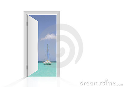 Isolated open door to beach Stock Photo